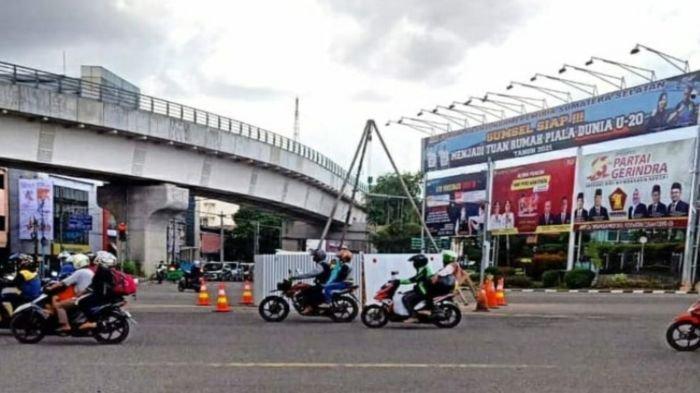 Lokasi bor soil test underpass Charitas di Jalan Jendral Sudirman Palembang, Selasa (16/2/2021).