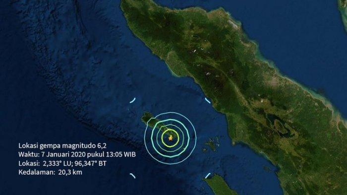 Gempa Kekuatan 6,4 Guncang Aceh, Pusat Gempa 13 Km di Samudera Indonesia, Getaran Sampai ke Medan