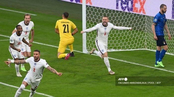 Hasil Inggris Vs Italia Final Euro 2020 Babak I, Gol Luke Shaw Pecahkan Rekor 57 Tahun Silam