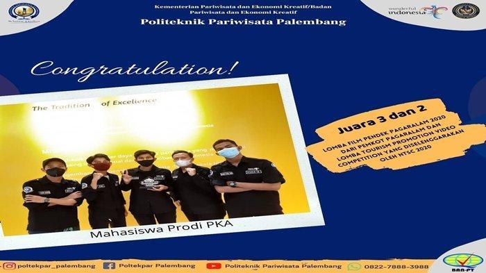 Congratulation, Mahasiswa Poltekpar Palembang Raih Juara 3 Lomba Film Pendek Pagaralam