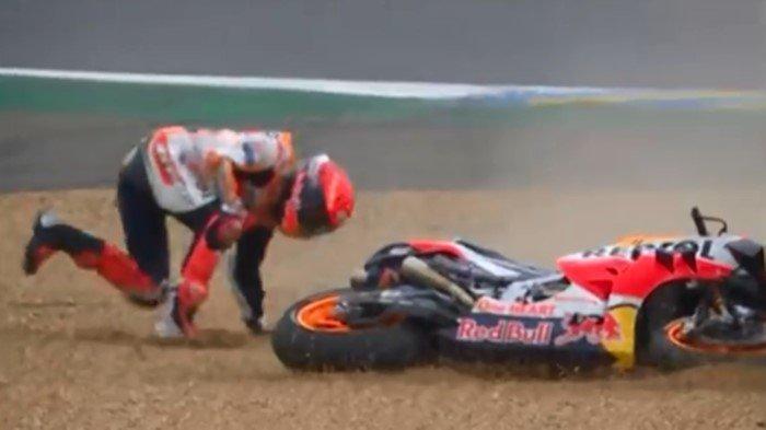 Emosi Marc Marquez Jatuh 2 Kali, Kesempatan Juara MotoGP Prancis 2021 Hilang: Saya Marah Sekali