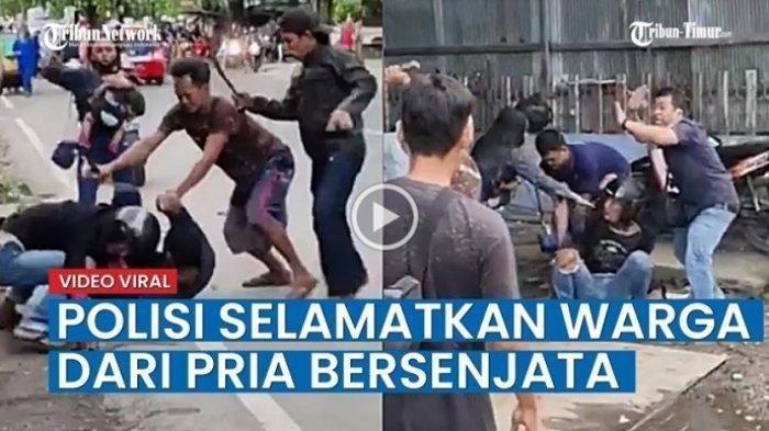 TEPIS Sabetan Celurit,  Anggota Polisi Pasang Badan, Selamatkan Pria yang Dikeroyok Massa