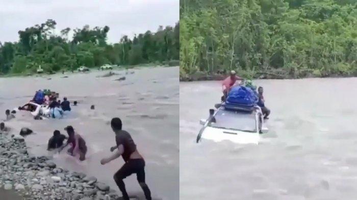 MENEGANGKAN, Mobil Pajero Sarat Muatan, Berani Seberangi Sungai: Penumpang Berloncatan