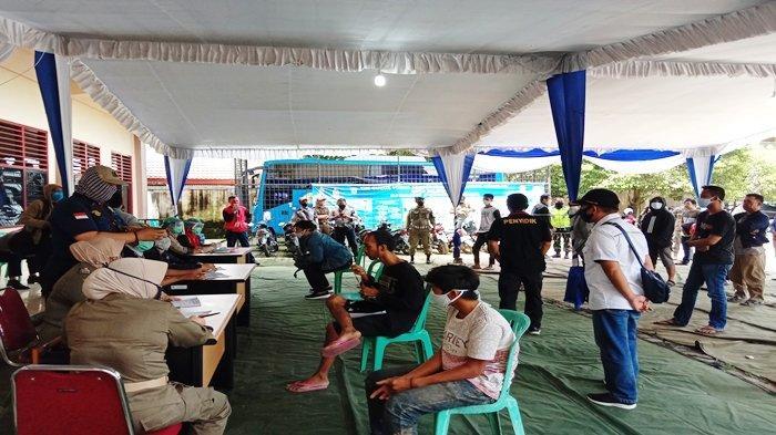 Hari Ini, 18 Pria di Palembang Terjaring Razia tidak Memakai Masker dan Dikarantina di Gedung PGRI