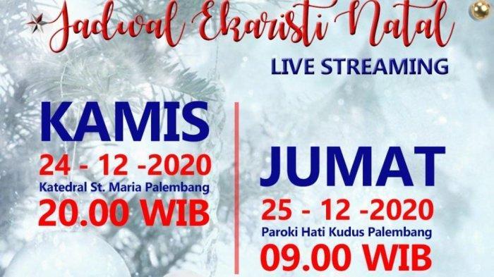 Link Live Streaming Misa Natal 2020 di Palembang Via YouTube Live dan Facebook Live