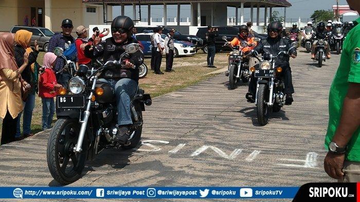 Gaya Gubernur Sumsel Herman Deru &  2 Jendral, Naik Moge dari Palembang ke  Ogan Ilir