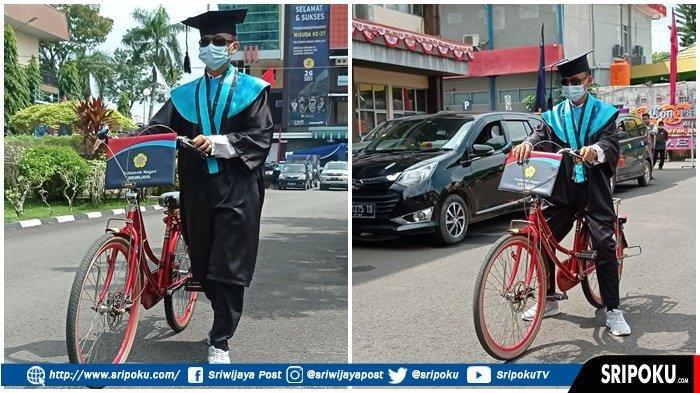 Wisudawan di Palembang Ini Naik Sepeda saat Pemindahan Kuncir, Tunggu Teman Sebangku, Ini Alasannya!