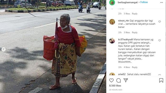 Nenek Suning Jalan Kaki 15 Km Jualan Peyek Dapat Rp 25 Ribu, Netizen Bandingkan dengan Gaji DPR