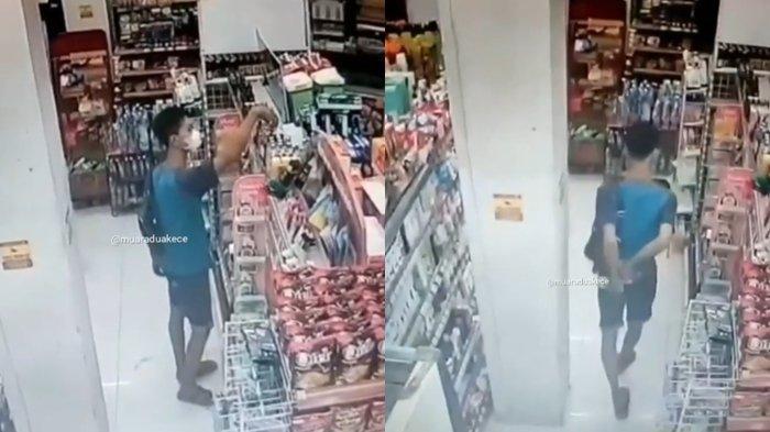 Terekam CCTV Seorang Pria Mengutil di Alfamart Muaradua OKU Selatan, Saku Celananya Penuh