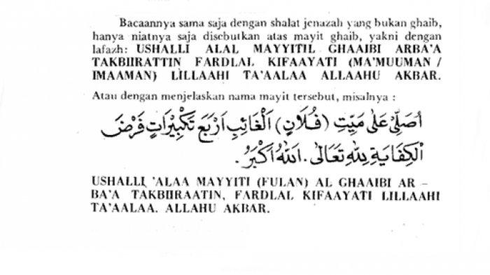 Bacaan niat sholat ghaib dalam bahasa Arab, latin dan artinya