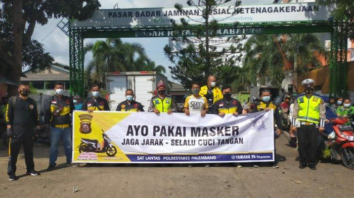 PECI -- Sosialisasi Tim Patroli Kepolisian Cegah Covid-19 ( Peci) Polisi Dulur Kito ( PDK ) Sat Lantas Polrestabes Palembang, hari Sabtu ( 6/3/2021). (SRIPOKU.COM/M.ZAINI)