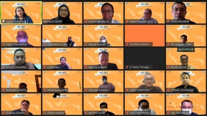 Sebagian peserta yang hadir secara virtual pada acara pengesahan atau pelantikan pengurus FKD KG periode 2021-2023, Selasa (16/2/2021).