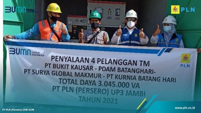 Pelayanan 4 pelanggan TM PT Bukit Kausar - PDAM Batanghari-PT Surya Global Makmur -PT Kurnia Batang Hari, total daya 3.045000 VA PT PLN UP3 Jambi, 2021.