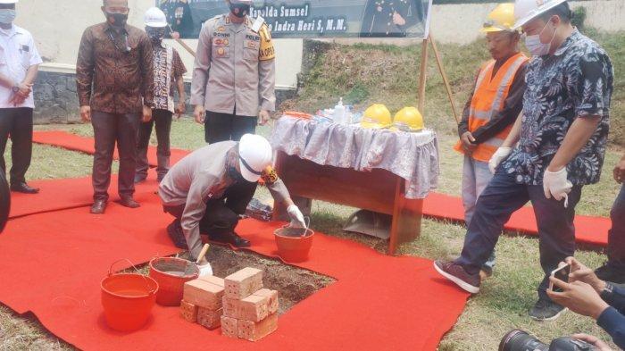 Kapolda Sumsel Letakan Batu Pertama Lapangan Tembak Polres Muara Enim Bantuan dari PTBA