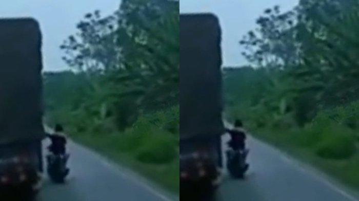 Video Diduga Pemalakan di Jalinsum Muratara Beredar Luas di Facebook, Pria Pakai Motor Pepet Truk