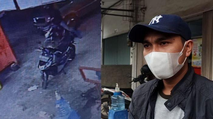 HANYA 15 DETIK, Pencuri Ini Gasak Motor Handoko di Halaman Parkir Minimarket Siring Agung Palembang