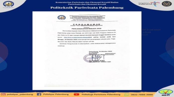 Pengumuman Penting Perlengkapan Wisuda 2020 Poltekpar Palembang