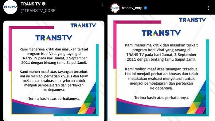 Pernyataan permintaan maaf Trans TV atas penayangan Kopi Viral pada Jumat (3/9/2021), Senin (6/9/2021)