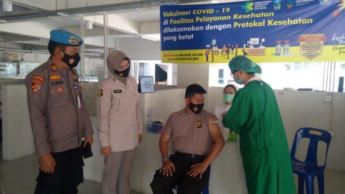 130 PersonilPolres OKU dan Polsek Jajaran VaksinasiCovid-19, Disebar ke Puskesmas dan Rumah Sakit