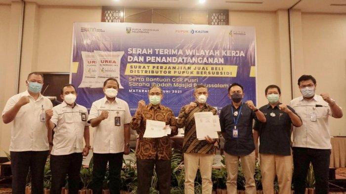 Salurkan Pupuk Subsidi, PT Pusri Palembang Tanda Tangani SPJB dengan Distributor Pupuk di NTB Lombok