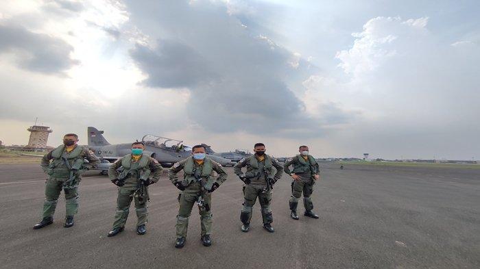 Jelang Latihan Strategi Pengeboman di Babel, 9 Pesawat Tempur TNI AU Mendarat di Lanud SMH Palembang