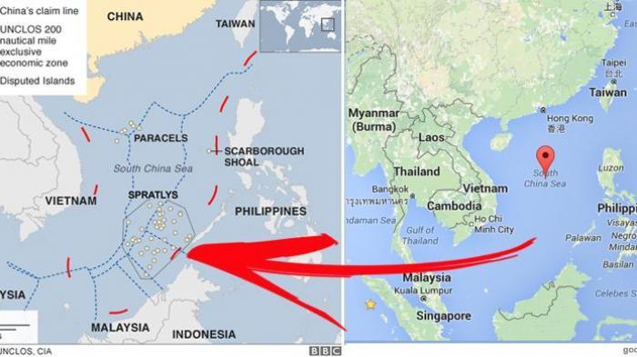 Peta wilayah sengketa di Laut China Selatan.