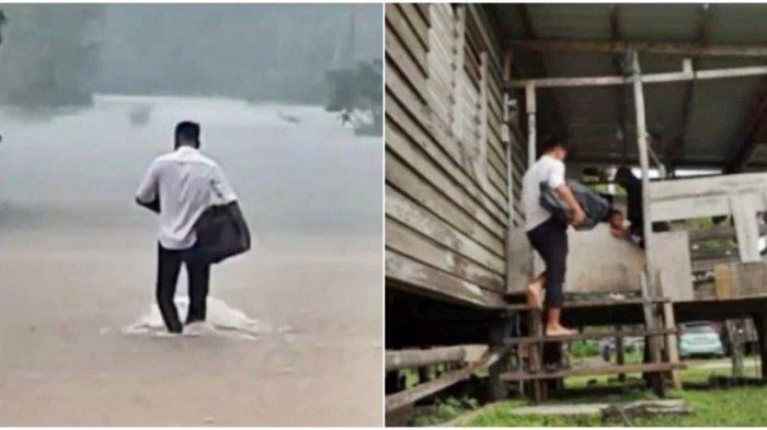 Dedikasi Tanpa Pamrih, Pria ini Rela Terobos Hujan Deras dan Banjir Selutut Demi Antar Buku ke Murid