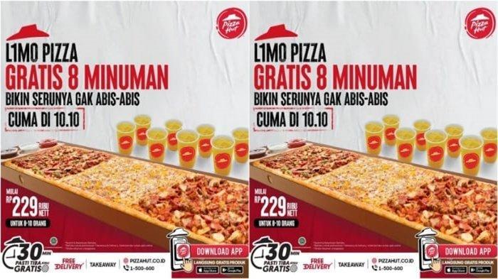 Promo Pizza Hut 10.10 Hari Ini 10 Oktober 2021, Beli Limo Pizza Gratis Delapan Minuman Langsung