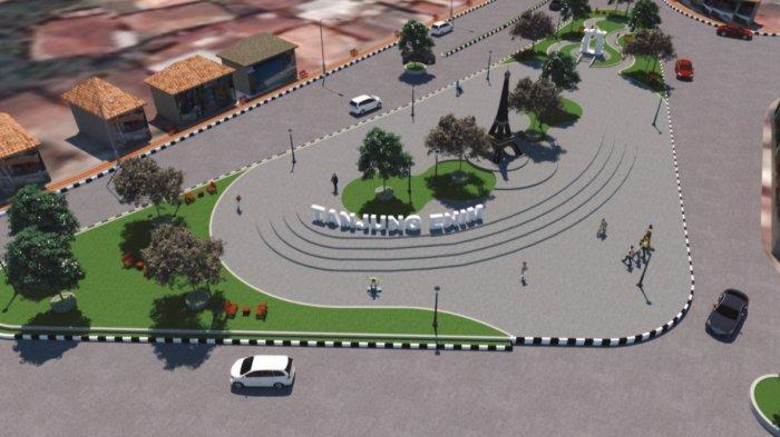 Gambar Maket : Rencana Plaza Saringan Tanjung Enim mendukung kota Tanjung Enim sebagai kota wisata