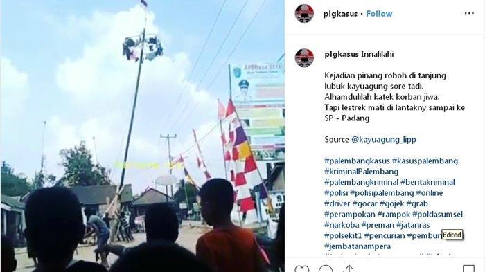 Rayakan HUT RI ke -74 Tahun, Pohon Pinang Warga Lubuk Kayuagung, Roboh Menimpa Kabel Listrik