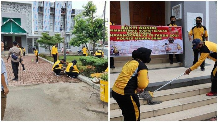 Menyambut HUT Bhyangkara Polri ke-75, Polres Muara Enim Gelar Bhakti Sosial Bersihkan Rumah Ibadah
