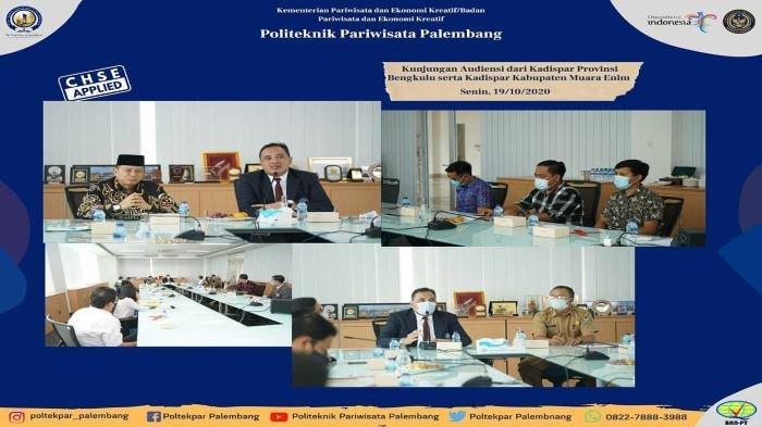 Poltekpar Palembang menerima audensi dua dinas pariwisata sekaligus di waktu yang berbeda dari Dinas Pariwisata Provinsi Bengkulu dan Dinas Pariwisata Kabupaten Muara Enim, Senin (19/10/20).