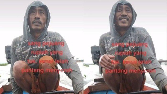 Dijuluki Sang Pejuang Rupiah, Pria Ini Menggigil Terabas Hujan di Atas Perahu, Ditonton 3,5 Juta