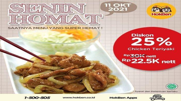 Promo HokBen Terbaru Oktober 2021, Chicken Teriyaki Alacarte Diskon 20 Persen