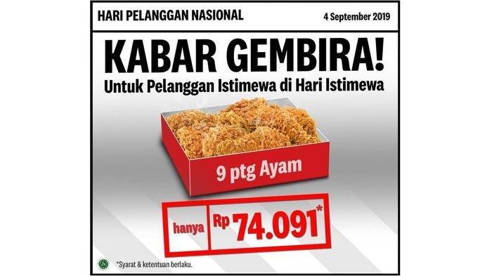 Kabar Gembira! Promo Hari Pelanggan Nasional, Makan Hemat di 6 Restoran Ini dari KFC hingga Pancious
