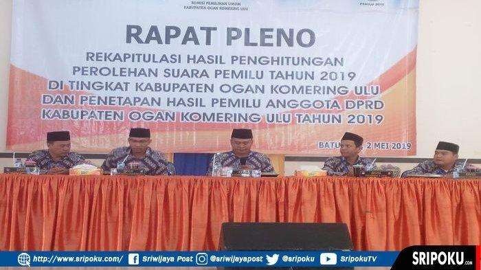 KPU OKU Gelar Rapat Pleno Rekapitulasi Hasil Penghitungan Perolehan Suara Pemilu 2019