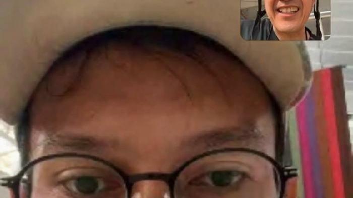 Mohammad Ahsan saat video call dengan Ketua PBSI Palembang Ratu Dewa, Minggu (1/8/2021)