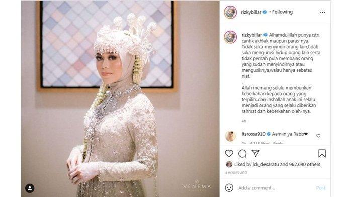 Rizky Billar pasang badan membela Lesti Kejora melalui unggahan di akun Instagram-nya, Jumat (24/9/2021)