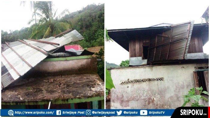 ANGIN Puting Beliung 'Ngamuk' di Desa Sindang Panjang Tanjung Sakti Lahat, 12 Rumah Warga Rusak