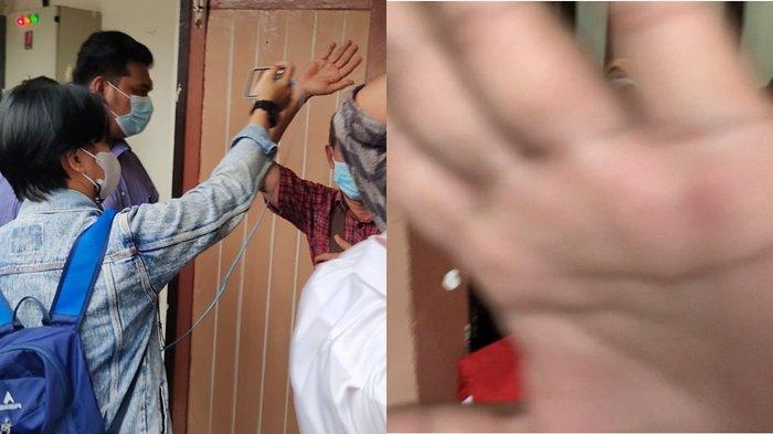 Sidang Dugaan Korupsi Masjid Raya Sriwjaya, Tangan Kerabat Mukti Sulaiman Tutupi Handphone Wartawan