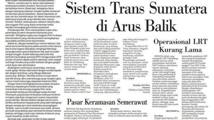Sistem Tol Trans Sumatera di Arus Balik