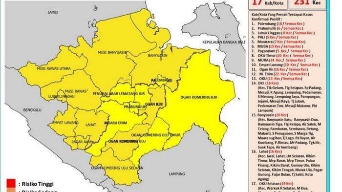 Status 17 kabupaten/kota di Sumsel yang sudah zona kuning semua, per 10 September 2021.