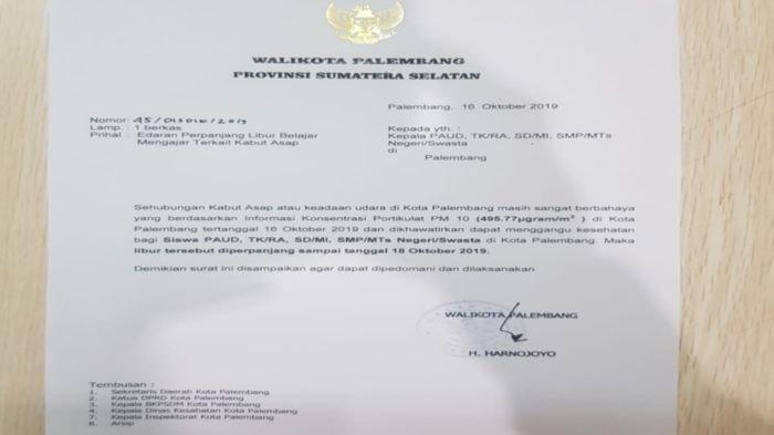 Walikota Palembang Perpanjang Libur Siswa PAUD, TK/RA - SMP/MTs Negeri/Swasta Hingga 18 Oktober 2019