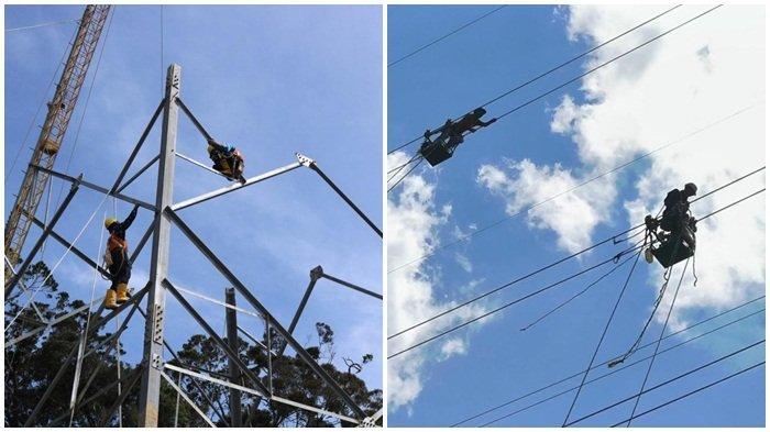 Tim PLN, tampak dua orang pekerja fokus menyelesaikan pembanguan tower SUTT 150 kV di wilayah Semende Muara Enim. Inset kanan, dua orang tim melakukan pemasangan jaringan kabel SUTT.