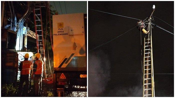 Tampak pegawai PLN yang sedang fokus mengawasi aliran listrik yang terganggu akibat terjadi  kebakaran di kawasan Gudang Mas Sriwijaya Kertapati Karya Jaya KM 10, Sabtu malam (10 7 2021). Inset pekerja saat memenahi kabel