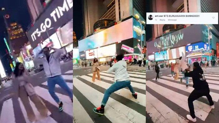 Tangkapan layar video Denny Sumargo joget di zebra cross Times Square, New York, AS, Jumat (10/9/2021) siang WIB