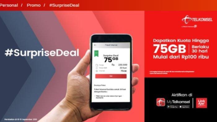 Telkomsel Gelar Program 4 Paket Internet 'Surprise Deal' Murah, Mulai Kuota 20 GB Hanya Rp 100.000