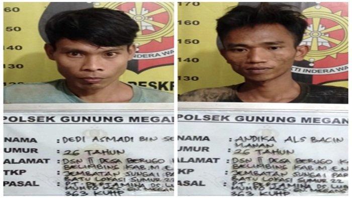 Tersangka pencurian besi milik PT Pertamina Hulu Rokan Regional I Zona 4 Pendopo Field yakni, Dedi Asmadi (26) dan Andika alias Bacin (26) keduanya warga Desa Berugo, Kecamatan Belimbing, Kabupaten Muara Enim.