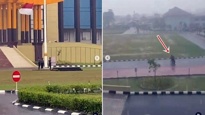 Meski Hujan Badai, 3 Polisi ini Tetap Jalankan Tugas Turunkan Bendera Merah Putih Walau Basah Kuyup