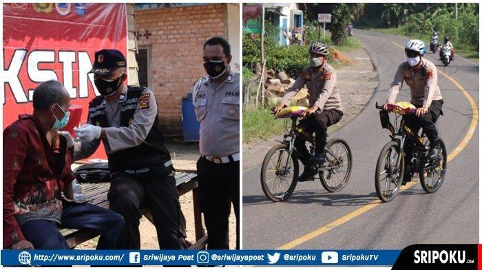KOMPOL Indarmawan Naik Sepeda Lewati Jembatan Gantung, Berikan Vaksin ke Warga yang Sulit Dijangkau